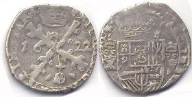 coin Spanish Netherlands 1/4 patagon 1622