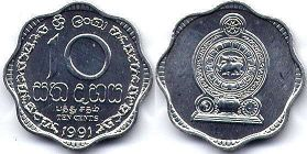coin Sri Lanka 10 cents 1991