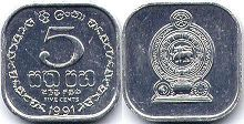 coin Sri Lanka 5 cents 1991