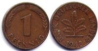 coin Germany 1 pfennig 1948
