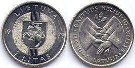 coin Lithuania 1 litas 1999