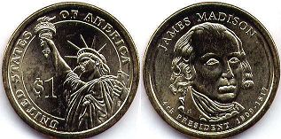 coin US commemorative coin 1 dollar 2007  President dollar Madison