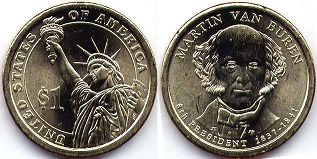coin US commemorative coin 1 dollar 2008 President dollar van Buren