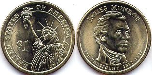 coin US commemorative coin 1 dollar 2008 President dollar Monroe