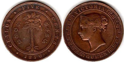 coin Ceylon 5 cents 1870