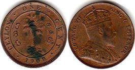 coin Ceylon 1 cent 1909