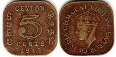 coin Ceylon 5 cents 1942