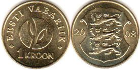coin Estonia 1 kroon 2008