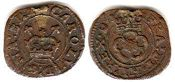 coin English old silver coin - Charles I farthing