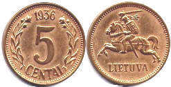 coin Lithuania 5 centai 1936