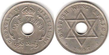 coin ONE PENNY BRITHSH WEST AFRICA GEORGIVS VI