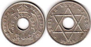 coin ONE HALF PENNY BRITHSH WEST AFRICA GEORGIVS V