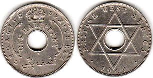 coin ONE HALF PENNY BRITHSH WEST AFRICA GEORGIVS VI