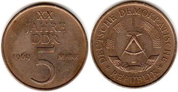 coin East Germany 5 mark 1969