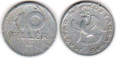 coin Hungary 10 filler 1959