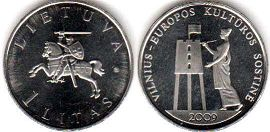 coin Lithuania 1 litas 2009