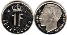 coin Luxembourg 1 franc 1991