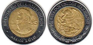 moneda Mexico 5 pesos 2009