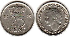 coin Netherlands 25 cents 1948