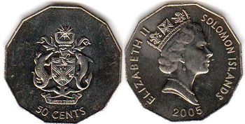 coin Solomon Islands 50 cents 2005