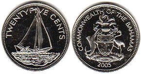 coin Bahamas 25 cents 2005