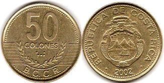 coin Costa Rica 50 colones 2002