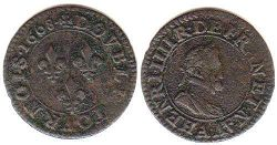 coin France double denier 1608