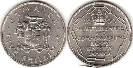 coin Jamaica 5 shillings 1966