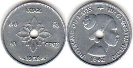 coin Laos 10 cents 1952
