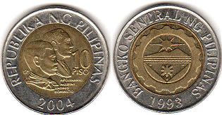 coin Philippines 10 piso 2004