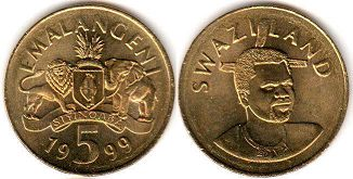 coin Swaziland 5 emalangeni 1999