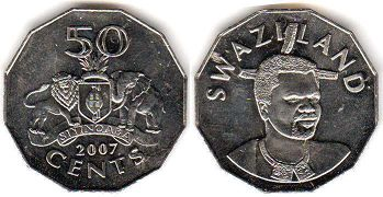 coin Swaziland 50 cents 2007
