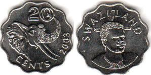 coin Swaziland 20 cents 2003
