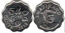 coin Swaziland 5 cents 2010