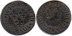 coin France  double denier 1640