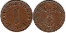 coin Nazi Germany 1 pfennig 1939