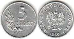 coin Poland 5 groszy 1949