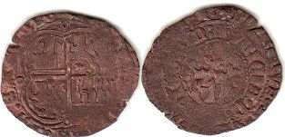 coin Castile and Leon 3 maravedis 1369-1379