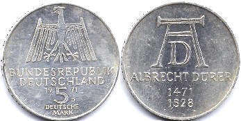 coin Germany 5 mark 1971