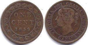 coin canadian old coin 1 cent 1859