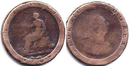 coin UK old coin 1 penny 1797