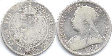 coin UK old coin half crown 1898