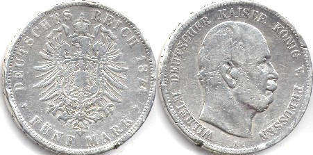 coin German Empire 5 mark 1874