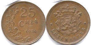 monnaie Luxembourg 25 centimes 1930