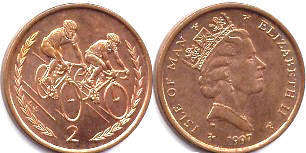 coin Isle of Man 2 pence 1997