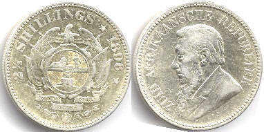 old coin South Africa 2.5 shillings 1896