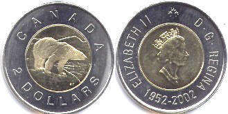 coin canadian commemorative coin 2 dollars 2002