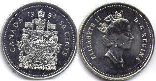 canadian coin 50 cents 1999