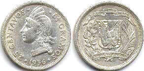 coin Dominican Republic 25 centavos 1956