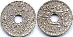 piece Tunisia 10 centimes 1933